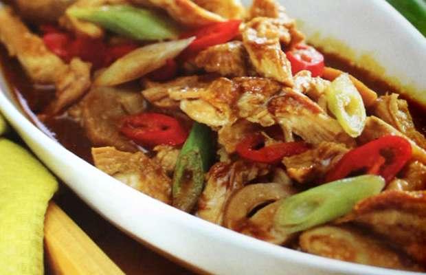 semur ayam, semur ayam suwir jamur, resep masakan